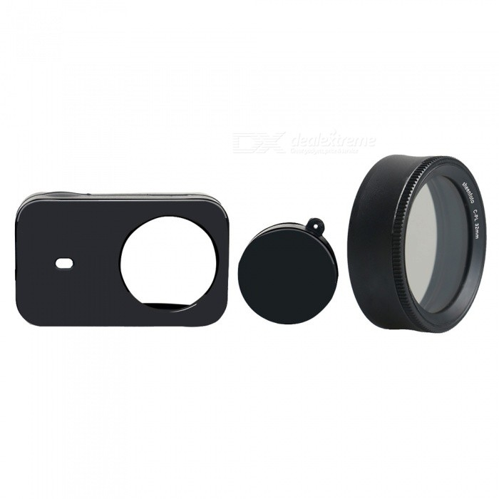Silicone Camera Case + CPL Protective Lens Cover for Xiaomi MiJia Sports Camera - BlackLenses Accessories<br>ColorBlackMaterialSilicone + Aluminum alloy + optical glassQuantity1 DX.PCM.Model.AttributeModel.UnitPacking List1 x Silicone case1 x CPL<br>