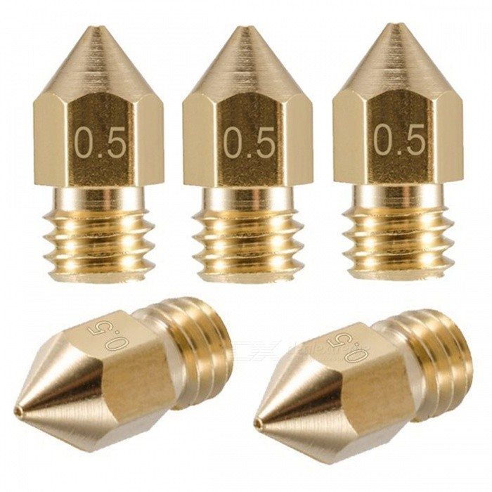 ZHAOYAO 3mm / 0.5mm 3D Printing Nozzle 3D Printer Accessories Mk8 Brass Nozzle Tip (5PCS)