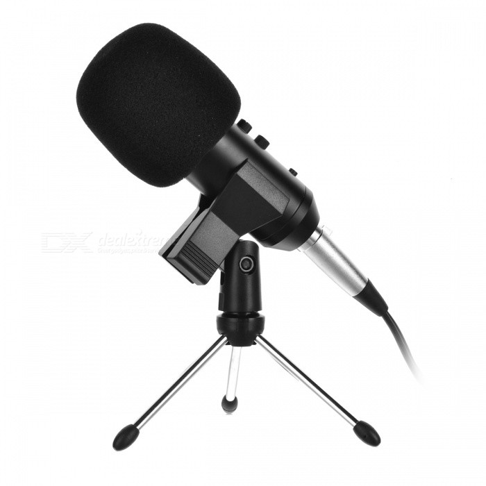 JEDX MK-F400TL Professional Condenser Sound Microphone w/ Anti-Shock MountMicrophones<br>Form  ColorBlack + GoldForm  ColorBlackModelMK-F400TLQuantity1 DX.PCM.Model.AttributeModel.UnitShade Of ColorBlackMaterialABSInterface3.5mmPowered ByPower FreeMicrophone Frequency Response30Hz~20KHzSensitivity25mV/Pa(32dB±2dB)Mic Polar PatternsUnidirectionalImpedance16 DX.PCM.Model.AttributeModel.UnitPacking List1 x Condenser sound recording microphone1 x Plastic anti-shock mount Kit1 x Anti-wind foam cap1 x Audio connect cable1 x English manual<br>