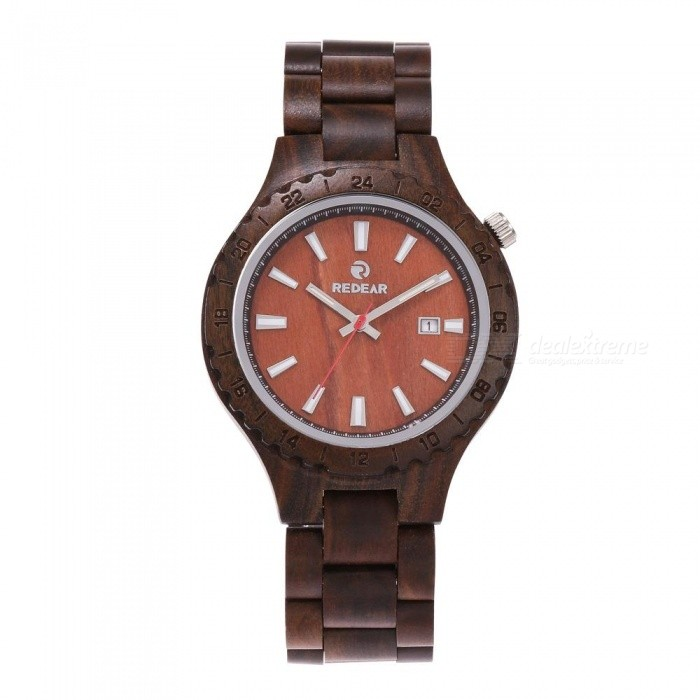 Redear 1597 Stylish Waterproof Round Dial Mens Quartz Watch with Wooden StrapQuartz Watches<br>Model1597Model1597Quantity1 DX.PCM.Model.AttributeModel.UnitShade Of ColorBlackCasing MaterialWoodenWristband MaterialWoodenSuitable forAdultsGenderMenStyleWrist WatchTypeFashion watchesDisplayAnalog + DigitalBacklightNoMovementQuartzDisplay Format12 hour formatWater ResistantFor daily wear. Suitable for everyday use. Wearable while water is being splashed but not under any pressure.Dial Diameter42 DX.PCM.Model.AttributeModel.UnitDial Thickness11 DX.PCM.Model.AttributeModel.UnitWristband Length235 DX.PCM.Model.AttributeModel.UnitBand Width20 DX.PCM.Model.AttributeModel.UnitBatterysony626Packing List1 x Watch1 x Box1 x Hole puncher1 x Specification1 x Watch fabric<br>