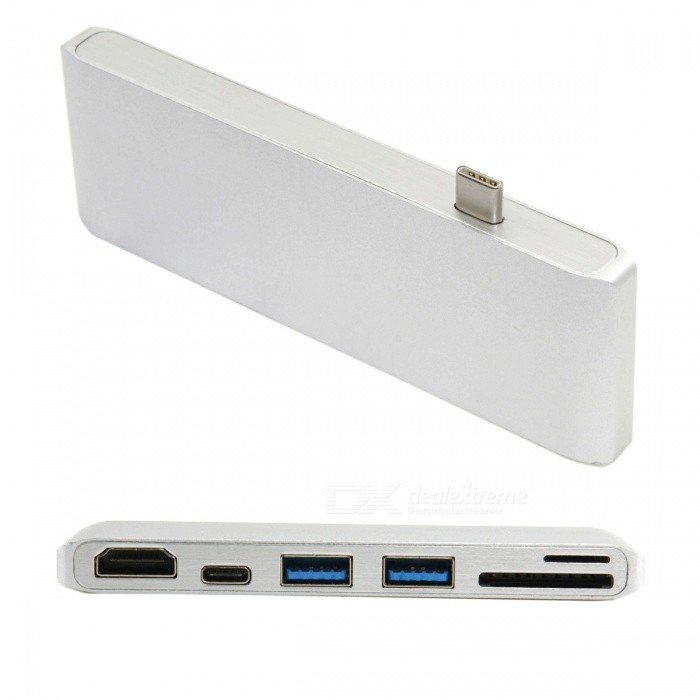 CY UC-054 USB 3.1 Type-C USB-C to HDMI &amp; Dual Port 3.0 Hub w/ SD TF Card Reader &amp; Power Port for PC Laptop &amp; MacbookPower Adapters<br>Form  ColorAntique SilveryForm  ColorWhiteModelUC-054Quantity1 DX.PCM.Model.AttributeModel.UnitShade Of ColorSilverMaterialABSTypeLaptopsCompatible BrandOthersCompatible ModelMacbookNSPower AdapterOthersTip DiameterOthersInput Frequency30 DX.PCM.Model.AttributeModel.UnitInput Voltage/ DX.PCM.Model.AttributeModel.UnitOutput Current/ DX.PCM.Model.AttributeModel.UnitOutput Voltage/ DX.PCM.Model.AttributeModel.UnitOther FeaturesUSB3.0 * 2, TF * 1, SD * 1, HDMI * 1, type - c* 1Packing List1 x Adapter<br>