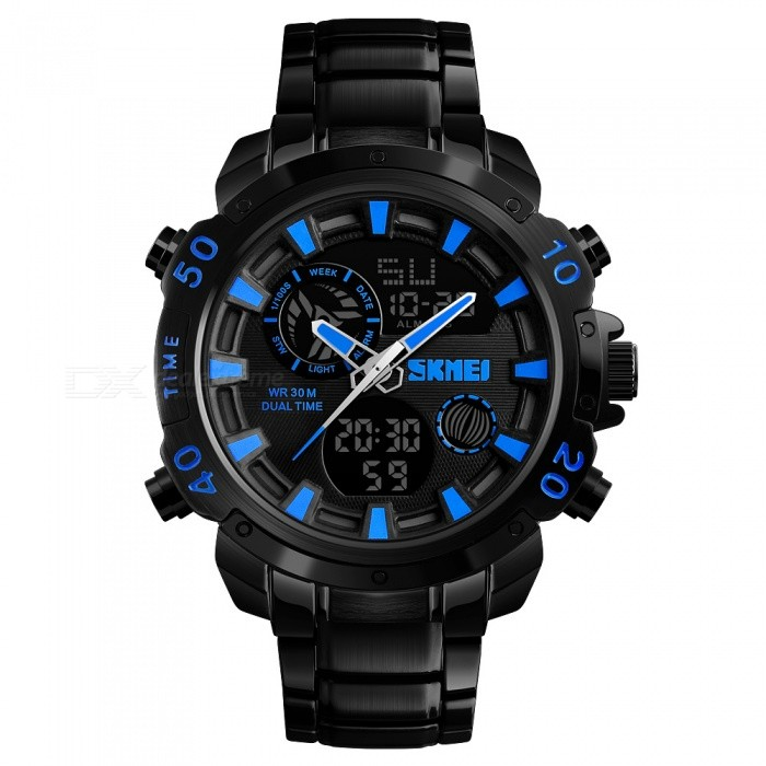 SKMEI 1306 30m Waterproof Mens Digital Fashion Casual Sports Watch - BlueSport Watches<br>ColorBlueModel1306Quantity1 DX.PCM.Model.AttributeModel.UnitShade Of ColorBlueCasing MaterialZINC AlloyWristband MaterialZINC AlloySuitable forAdultsGenderMenStyleWrist WatchTypeSports watchesDisplayAnalog + DigitalBacklightEL LightMovementDigitalDisplay Format12/24 hour time formatWater ResistantWater Resistant 3 ATM or 30 m. Suitable for everyday use. Splash/rain resistant. Not suitable for showering, bathing, swimming, snorkelling, water related work and fishing.Dial Diameter5.5 DX.PCM.Model.AttributeModel.UnitDial Thickness1.4 DX.PCM.Model.AttributeModel.UnitWristband Length22 DX.PCM.Model.AttributeModel.UnitBand Width2.2 DX.PCM.Model.AttributeModel.UnitBattery1 x CR2025 / SR626SWPacking List1 x SKMEI 1306 Watch<br>