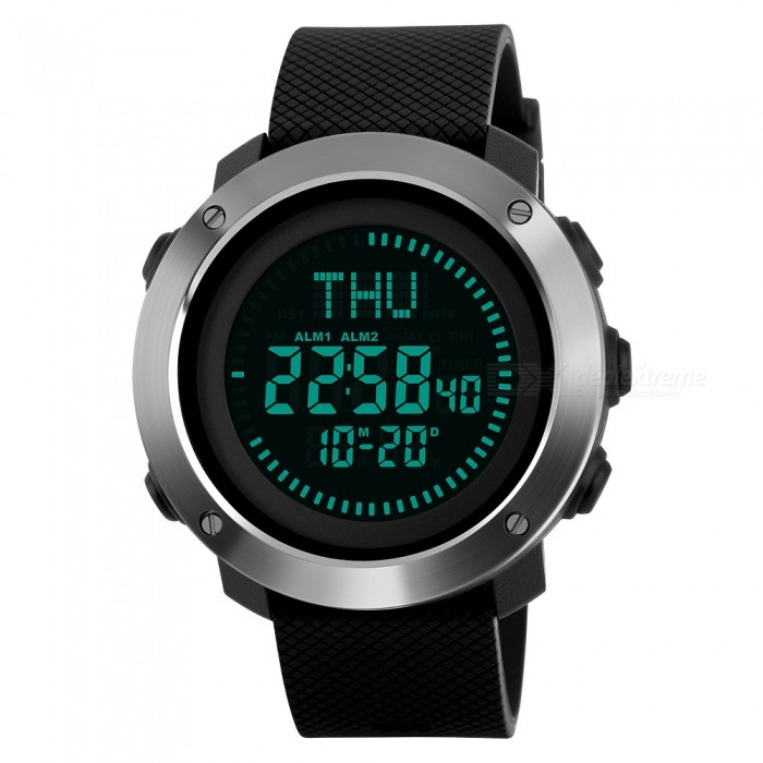 SKMEI 1293 50M Waterproof Mens Digital Sports Watch With Compass - BlackSport Watches<br>ColorBlackModel1293Quantity1 pieceShade Of ColorBlackCasing MaterialABS and Stainless SteelWristband MaterialPUSuitable forAdultsGenderUnisexStyleWrist WatchTypeSports watchesDisplayDigitalBacklightEL BacklightMovementDigitalDisplay Format12/24 hour time formatWater ResistantWater Resistant 5 ATM or 50 m. Suitable for swimming, white water rafting, non-snorkeling water related work, and fishing.Dial Diameter4.9 cmDial Thickness1.4 cmWristband Length25.5 cmBand Width2.2 cmBattery1 x CR2032Packing List1 x SKMEI 1293 Watch<br>