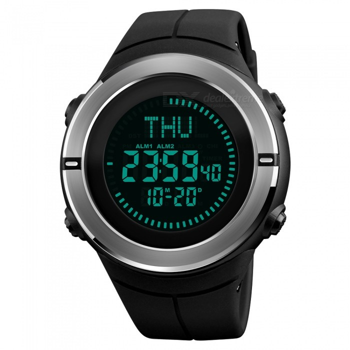 SKMEI 1294 50m Waterproof Mens Digital Sports Watch With Compass - BlackSport Watches<br>ColorBlackModel1294Quantity1 pieceShade Of ColorBlackCasing MaterialABS and Stainless SteelWristband MaterialPUSuitable forAdultsGenderMenStyleWrist WatchTypeFashion watchesDisplayDigitalBacklightEL BacklightMovementDigitalDisplay Format12/24 hour time formatWater ResistantWater Resistant 5 ATM or 50 m. Suitable for swimming, white water rafting, non-snorkeling water related work, and fishing.Dial Diameter5.3 cmDial Thickness1.4 cmWristband Length26 cmBand Width2.2 cmBattery1 x CR2032Packing List1 x SKMEI 1294 Watch<br>