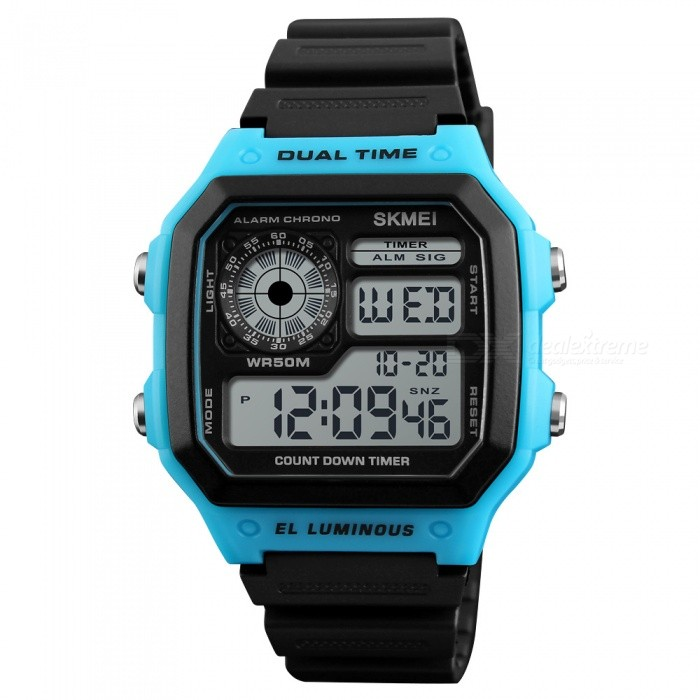 SKMEI 1299 50m Waterproof Mens Digital Sports Watch - BlueSport Watches<br>ColorBlueModel1299Quantity1 DX.PCM.Model.AttributeModel.UnitShade Of ColorBlueCasing MaterialABSWristband MaterialPUSuitable forAdultsGenderMenStyleWrist WatchTypeFashion watchesDisplayDigitalMovementDigitalDisplay Format12/24 hour time formatWater ResistantWater Resistant 5 ATM or 50 m. Suitable for swimming, white water rafting, non-snorkeling water related work, and fishing.Dial Diameter4.5 DX.PCM.Model.AttributeModel.UnitDial Thickness1.3 DX.PCM.Model.AttributeModel.UnitWristband Length26.5 DX.PCM.Model.AttributeModel.UnitBand Width1.8 DX.PCM.Model.AttributeModel.UnitBattery1 x CR2025Packing List1 x SKMEI 1299 Wacth<br>