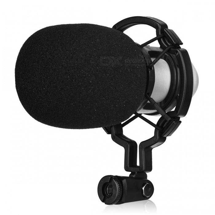JEDX BM800 Professional Condenser Sound Recording Microphone with Anti-Shock Mount - SilverMicrophones<br>ColorSilverModelBM-800Quantity1 DX.PCM.Model.AttributeModel.UnitShade Of ColorSilverMaterialABSInterface3.5mmPowered ByPower FreeMicrophone Frequency Response20Hz~20KHzSensitivity45dB+1dBMic Polar PatternsUnidirectionalImpedance16 DX.PCM.Model.AttributeModel.UnitOther FeaturesType: Wired; <br>Connection: 3.5mm; <br>Polar Pattern: Uni-directional; <br>Frequency Range: 20Hz~20KHz; <br>Impedance: 16ohm; <br>Cable Length: Approx. 2.5m; <br>Mainly Compatible with: Linux, Mac OS, Windows 2000, Windows 7, Windows 98, Windows 98SE, Windows ME, Windows Vista, Windows XPPacking List1 x BM-800 Condenser sound recording microphone1 x Plastic anti-shock mount Kit1 x Anti-wind foam cap1 x Audio connect cable1 x English manual<br>