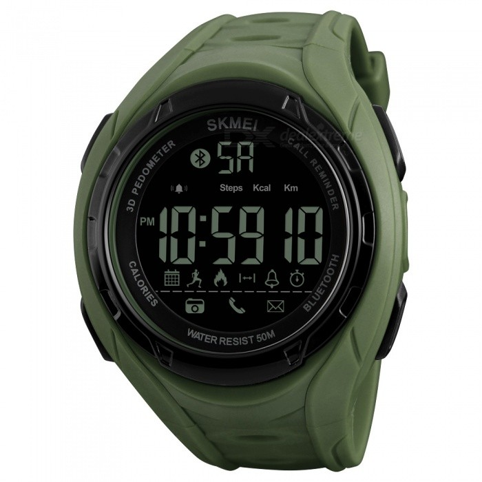 SKMEI 1316 50m Waterproof Pedometer Calorie and Low Battery Indication Mens Digital Sports Watch - Army GreenSport Watches<br>ColorArmy GreenModel1316Quantity1 pieceShade Of ColorGreenCasing MaterialABSWristband MaterialPUSuitable forAdultsGenderMenStyleWrist WatchTypeCasual watchesDisplayDigitalBacklightEL LightMovementDigitalDisplay Format12/24 hour time formatWater ResistantWater Resistant 5 ATM or 50 m. Suitable for swimming, white water rafting, non-snorkeling water related work, and fishing.Dial Diameter5.5 cmDial Thickness1.5 cmWristband Length24 cmBand Width2.2 cmBattery1 x CR2430Packing List1 x SKMEI 1316 Watch<br>