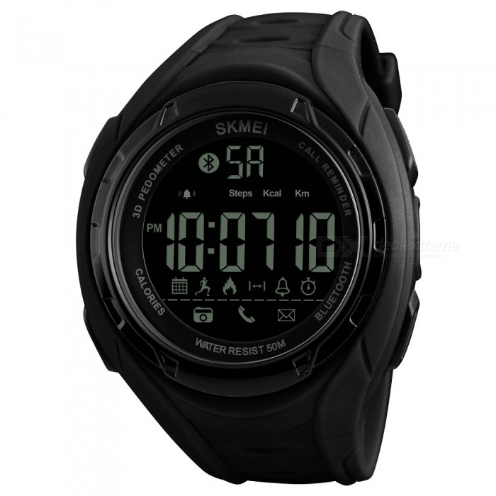SKMEI 1316 50m Waterproof  Pedometer Calorie and Low Battery Indication Mens Digital Sports Watch - BlackSport Watches<br>ColorBlackModel1316Quantity1 pieceShade Of ColorBlackCasing MaterialABSWristband MaterialPUSuitable forAdultsGenderMenStyleWrist WatchTypeCasual watchesDisplayDigitalBacklightEL LightMovementDigitalDisplay Format12/24 hour time formatWater ResistantWater Resistant 5 ATM or 50 m. Suitable for swimming, white water rafting, non-snorkeling water related work, and fishing.Dial Diameter5.5 cmDial Thickness1.5 cmWristband Length24 cmBand Width2.2 cmBattery1 x CR2430Packing List1 x SKMEI 1316 Watch<br>