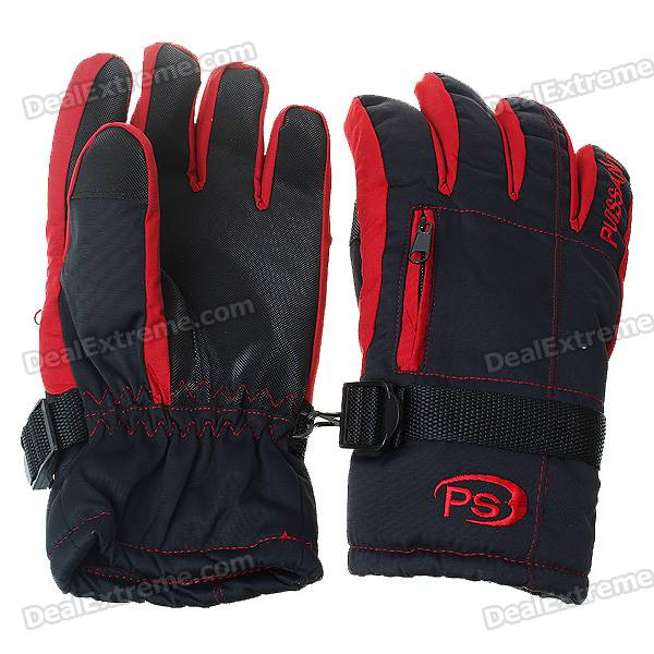 Waterproof Warm Ski/Hiking Gloves with Small Pocket for Man - Red + Black (L-Size/Pair)