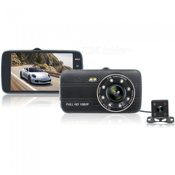 KELIMA 4 Inches Screen High-definition Dual Lens Car DVR Wide Angle 1080p Driving Recorder IR Infrared Night VisionCar DVRs<br>ColorBlackModel-Quantity1 DX.PCM.Model.AttributeModel.UnitMaterialABSChipsetOthers,JerryOther FeaturesOthersWide Angle170°-189°Camera Lens2Image SensorCMOSCamera Pixel1.3MPWide AngleOthers,170Screen TypeTFTScreen SizeOthers,4Exposure CompensationOthers,0/-1/-2/-3/+3/+2/+1Video FormatOthers,M-EGDecode FormatH.264Video ResolutionOthers,1920*1080/640*480Video Frame Rate25ImagesJPEGStill Image ResolutionOthers,1.3M/2M/3M/5M/8M/10MMicrophoneYesMotion DetectionYesAuto-Power OnYesLED Qty4G-sensorYesLoop RecordOthers,1/3/5Delay ShutdownYesTime StampYesBuilt-in Memory / RAMNoMax. Capacity32GBStorage ExpansionTFAV InterfaceMini HDMIData interfaceMini USBWorking Voltage   12-24 DX.PCM.Model.AttributeModel.UnitBattery Capacity300 DX.PCM.Model.AttributeModel.UnitMenu LanguageOthers,Chinese, English, JapanesePacking List1 x Dual Lens Car DVR2 x Screws1 x Bracket1 x Manual<br>