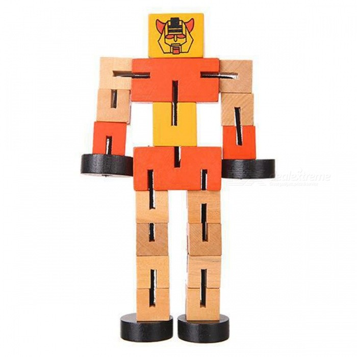 Wooden Transformation Robot Car Style Building Blocks Toy Gift for Kid Children - OrangeEducational Toys<br>ColorOrangeMaterialWoodQuantity1 piecesSuitable Age 8-11 years,12-15 years,Grown upsPacking List1 x Toy<br>