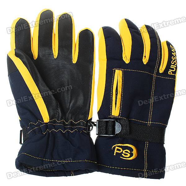 Waterproof Warm Ski/Hiking Gloves with Small Pocket for Women - Yellow + Dark Blue (L-Size/Pair)