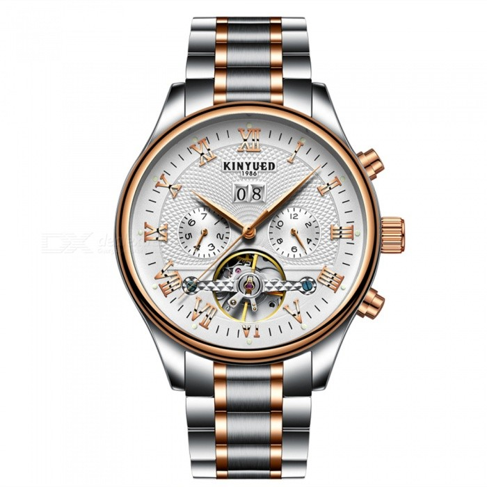 KINYUED J012 30m Waterproof Flying Tourbillon Self Winding Mens Automatic Mechanical Watch - Silver Steel BandMechanical Watches<br>ColorSilver Steel BandModelJ012Quantity1 DX.PCM.Model.AttributeModel.UnitShade Of ColorSilverCasing MaterialAlloyWristband MaterialStainless SteelSuitable forAdultsGenderMenStyleWrist WatchTypeCasual watchesDisplayAnalogMovementMechanicalDisplay Format12 hour formatWater ResistantWater Resistant 3 ATM or 30 m. Suitable for everyday use. Splash/rain resistant. Not suitable for showering, bathing, swimming, snorkelling, water related work and fishing.Dial Diameter4.2 DX.PCM.Model.AttributeModel.UnitDial Thickness1.6 DX.PCM.Model.AttributeModel.UnitWristband Length21 DX.PCM.Model.AttributeModel.UnitBand Width2.0 DX.PCM.Model.AttributeModel.UnitBatteryAutomatic Self-WindPacking List1 x KINYUED J012 Mechanical Watch1 x Gift Box<br>