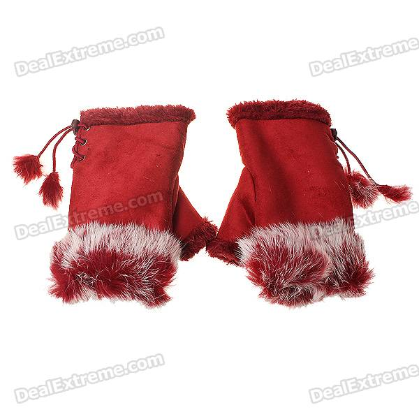 Vogue Warm Ladies Rabbit Hair + Suede Gloves (Color Assorted/Pair)