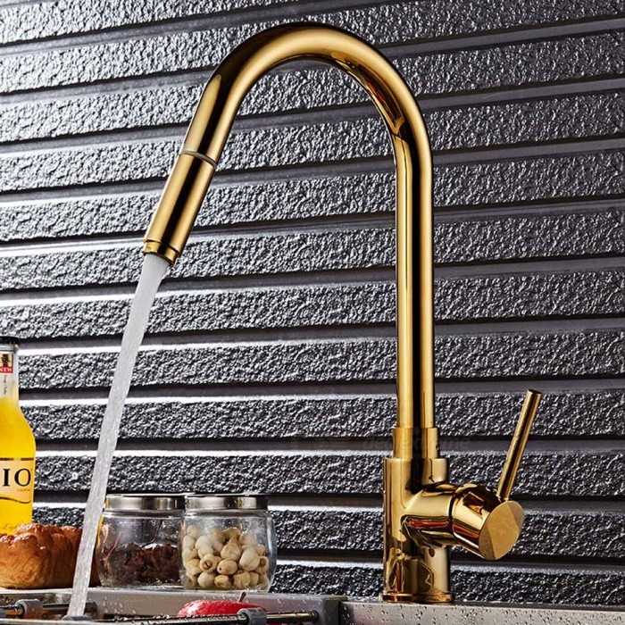 Brass Pull-out/­Pull-down 360 Degree Rotatable One-Hole Kitchen Faucet with Ceramic Valve, Single HandleKitchen Faucets<br>ColorGoldenSizeNorth AmericaModelF-8055BGMaterialBrassQuantity1 setFinishOthers,Ti-PVDValve TypeCeramic ValveNumber of handlesSingleSpout Height25 cmSpout Length18.5 cmTotal Height41.5 cmPacking List1 x Faucet2 x Stainless steel tubes (60cm)1 x Gravity ball<br>
