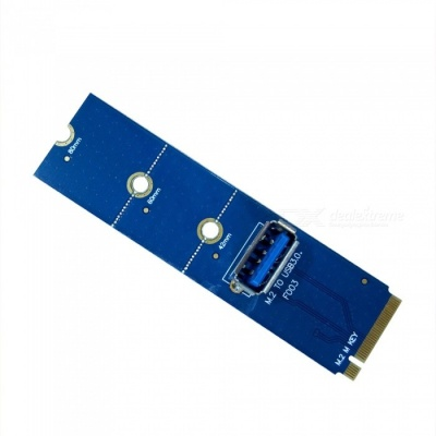 Dayspirit M.2 (NGFF) to PCI-E Channel USB 3.0 Adapter Card - Blue