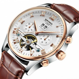 KINYUED J012 30m Waterproof Men's Automatic Mechanical Watch w/ Leather Band