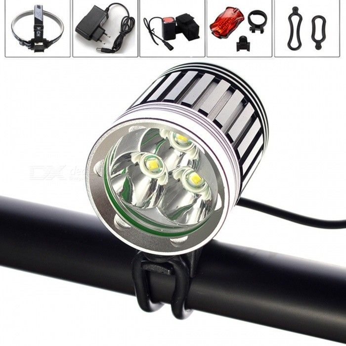 AIBBER TONE Waterproof 3 x CREE XM-L2 T6 LED Headlight Bicycle Light Flashlight with 4Pcs 18650 Batteries PackBike Lights<br>Bundles3L2 4x18650ModelLED CREE XM-L 3x T6Quantity1 DX.PCM.Model.AttributeModel.UnitMaterialAluminum alloy casingEmitter BrandCreeLED TypeXM-LEmitter BINothers,L2Number of Emitters3Color BINWhiteWorking Voltage   8.4 DX.PCM.Model.AttributeModel.UnitPower Supply18650Current3600 DX.PCM.Model.AttributeModel.UnitTheoretical Lumens3600 DX.PCM.Model.AttributeModel.UnitActual Lumens2800 DX.PCM.Model.AttributeModel.UnitRuntime4 DX.PCM.Model.AttributeModel.UnitNumber of Modes4Mode ArrangementHi,Mid,Low,Fast StrobeMode MemoryNoSwitch TypeForward clickyLensGlassReflectorAluminum SmoothFlashlight MountingHandlebar and HelmetSwitch LocationTailcapBeam Range900 DX.PCM.Model.AttributeModel.UnitPacking List1 x LED Headligh Bicycle light1 x Adjustable headband1 x AC charger (EU Plug)1 x Rear Light1 x 4*18650 Battery pack2 x Install rings<br>