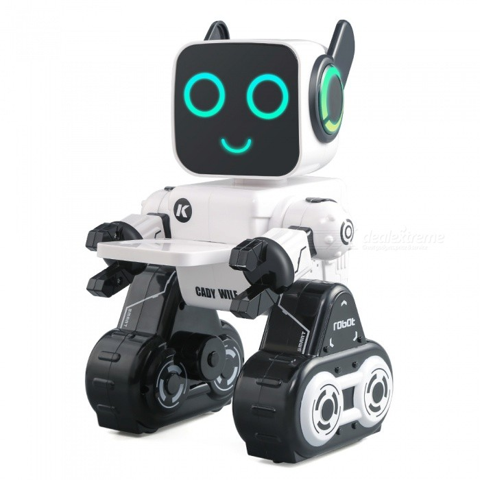 JJRC R4 Cady Wile 2.4G Gesture Sensor Control Sound Interaction Money Management RC Robot - WhiteR/C Airplanes&amp;Quadcopters<br>ColorWhiteModelR4MaterialABSQuantity1 setShade Of ColorWhiteGyroscopeYesChannels QuanlityOthers,NO channelsFunctionUp,Down,Left,RightRemote TypeRadio ControlRemote control frequency2.4GHzRemote Control Range15 mSuitable Age 6-9 months,9-12 months,13-24 months,5-7 years,8-11 years,12-15 years,Grown upsCameraNoCamera PixelNoLamp YesBattery TypeLi-ion batteryBattery Capacity3.7V 400 mAhCharging Time55-70 minutesWorking Time60-80 minutesRemote Controller Battery TypeAAARemote Controller Battery Number2 X AAA batteries (Not Included)Remote Control TypewiredModelMode 2 (Left Throttle Hand)CertificationCEPacking List1 x JJRC R4 Cady Wile RC Robot1 x Remote Control1 x Charging Cable1 x Tray1 x Key1 x Manual<br>