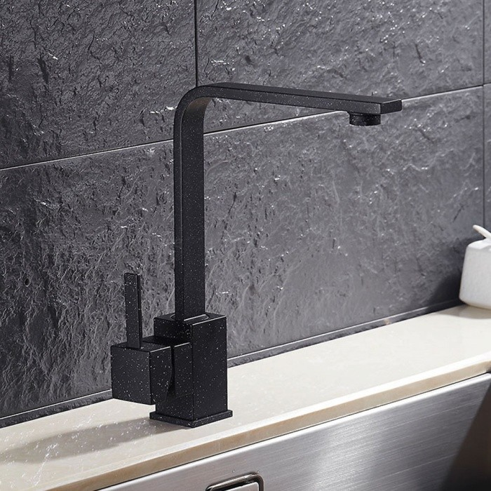 Brass 360 Degree Rotatable Ceramic Valve Single Handle One-Hole Kitchen Faucet - Black + White PointKitchen Faucets<br>ColorBlack + White PointSizeOther Regions/CountriesModelF-8008BDMaterialBrassQuantity1 setFinishOthers,Spray PaintValve TypeCeramic ValveNumber of handlesSingleSpout Height23.5 cmSpout Length20 cmTotal Height25 cmPacking List1 x Faucet2 x Stainless steel tubes (60cm)<br>