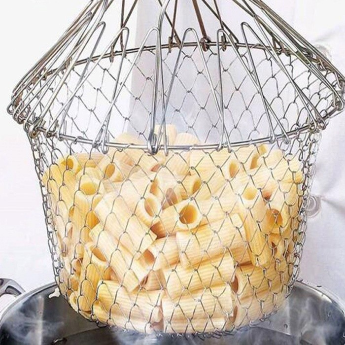 BSTUO Stainless Steel Fry Chef Basket Magic Mesh Basket Strainer Net Cooking Steam Rinse Strain BaskKitchen Gadgets<br>ColorSilverModelN/AMaterialStainless SteelQuantity1 piecePacking List1 x Fry Chef Basket<br>