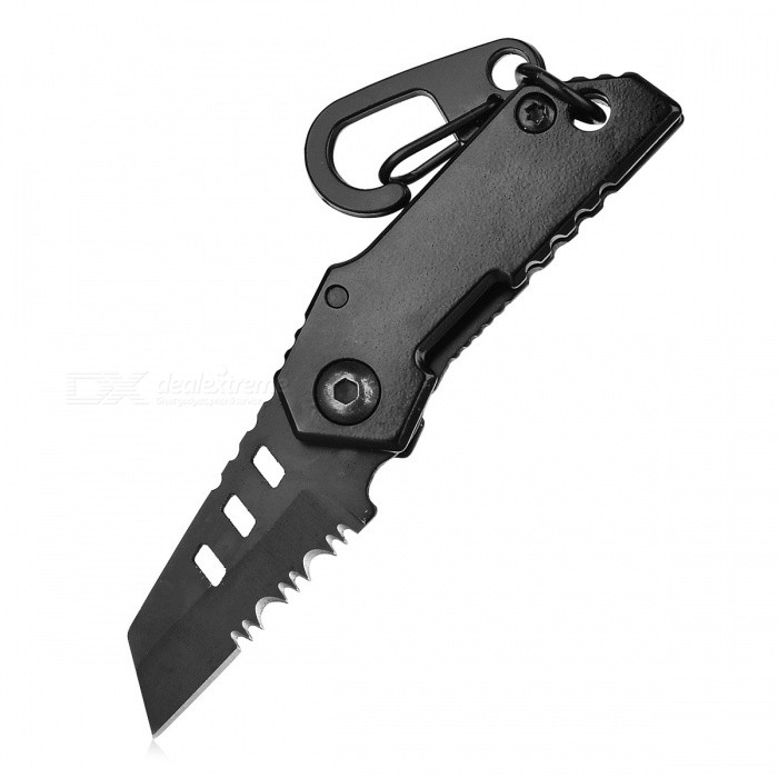 CTSmart B-2 Outdoor Ultra Mini Keychain with Half Tooth Folding Knife - Black