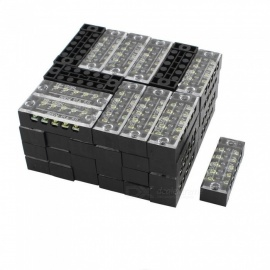 RXDZ Dual Row 5 Position Clear Covered Screw Terminal Block Strip Connector 600V 15A - Black (20PCS)