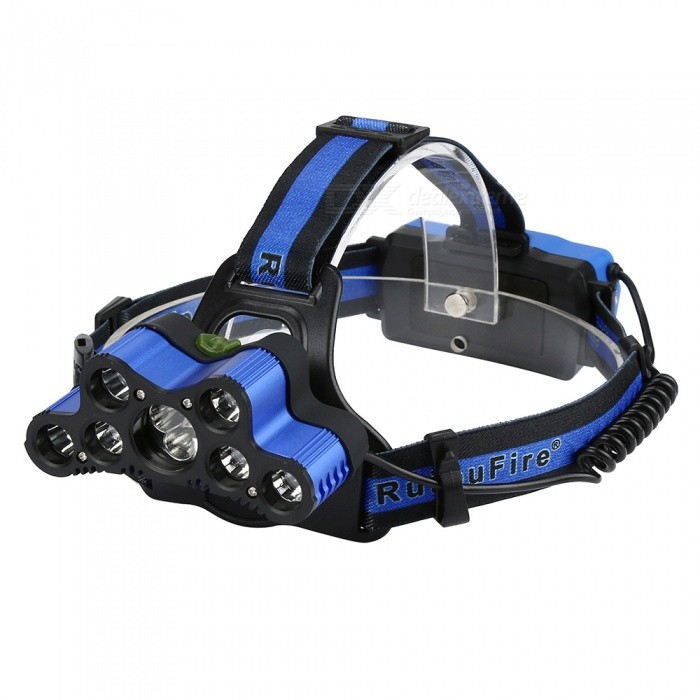 SPO Waterproof 7-Head 9-LED Strong Light Hunting Headlamp Outdoor Fishing Headlight - BlueHeadlamps<br>ColorblueModelT9Quantity1 DX.PCM.Model.AttributeModel.UnitMaterialAluminium alloy+clothEmitter BrandCreeLED TypeXM-L2Emitter BINT6Color BINWhiteNumber of Emitters9Working Voltage   3.7 DX.PCM.Model.AttributeModel.UnitPower Supply2*18650Current3 DX.PCM.Model.AttributeModel.UnitTheoretical Lumens2500 DX.PCM.Model.AttributeModel.UnitActual Lumens2500 DX.PCM.Model.AttributeModel.UnitRuntime12 DX.PCM.Model.AttributeModel.UnitNumber of Modes6Mode ArrangementHi,Mid,Low,SOS,OthersMode MemoryNoSwitch TypeClicky SwitchSwitch LocationHead TwistyLensGlassReflectorAluminum SmoothBand Length50 DX.PCM.Model.AttributeModel.UnitCompatible CircumferenceGeneral purposeBeam Range300-500 DX.PCM.Model.AttributeModel.UnitPacking List1 x LED Headlight1 x USB Cable<br>