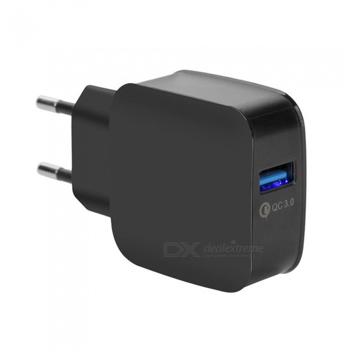 QC 3.0 5V/3A Quick Charge EU Plug USB AC Charger USB Wall Charger - BlackAC Chargers<br>ColorBlackModelN/AMaterialPCQuantity1 pieceInput Voltage100-240 VOutput Current3 AOutput Voltage5 VQuick ChargeYesLED IndicatorNoPacking List1 x AC Charger<br>