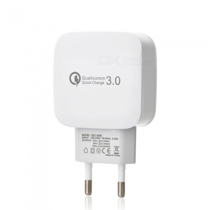 QC 3.0 5V/3A Fast Quick Charge EU Plug USB AC Charger USB Wall Charger - WhiteAC Chargers<br>ColorWhiteModelN/AMaterialPCQuantity1 DX.PCM.Model.AttributeModel.UnitInput Voltage100-240 DX.PCM.Model.AttributeModel.UnitOutput Current3 DX.PCM.Model.AttributeModel.UnitOutput Voltage5 DX.PCM.Model.AttributeModel.UnitQuick ChargeYesLED IndicatorNoPacking List1 x AC Charger<br>