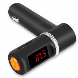 BC08 Car Bluetooth Handsfree MP3 Player FM Transmitter USB Car Charger - Black + Orange