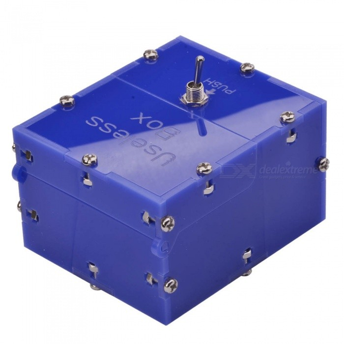 Mini Useless Fully Assembled Machine Box Toy - Blue