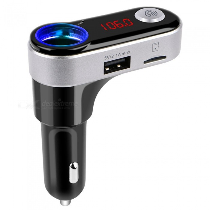 BC09B Car MP3 Player Bluetooth Handsfree Calls FM Transmitter Dual USB Car ChargerBluetooth Car Kits<br>Form  ColorBlack + SilverModelBC09BQuantity1 DX.PCM.Model.AttributeModel.UnitMaterialPlasticFunctionOthers,MP3 Player / Bluetooth Hands-free / Cigarette Plug / FM / Double USB Car ChargerCompatible CellphoneOthers,Bluetooth-enabled phoneVoice Prompt LanguageOtherBluetooth VersionBluetooth V3.0Transmit Distance10 DX.PCM.Model.AttributeModel.UnitCharging Voltage12-24V DX.PCM.Model.AttributeModel.UnitInterface/PortOthers,cigarette plugPacking List1 x Bluetooth Car Kit<br>