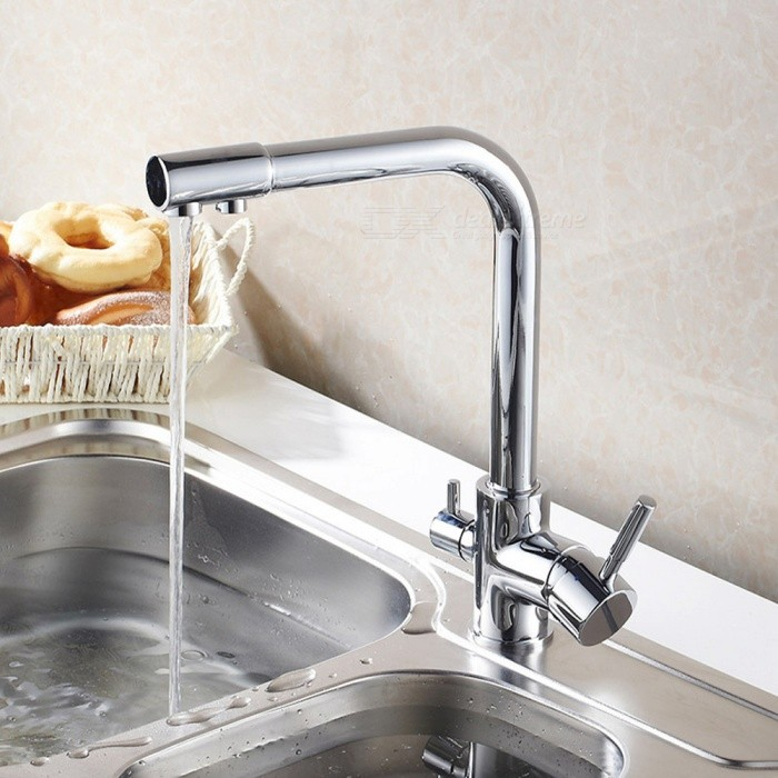 F-9051C Brass Chrome 360 Degree Rotatable Ceramic Valve Two Handles One-Hole Kitchen Faucet with Water Purification FeatureKitchen Faucets<br>ColorSilverSizeOther Regions/CountriesModelF-9051CMaterialBrassQuantity1 DX.PCM.Model.AttributeModel.UnitFinishChromeValve TypeCeramic ValveNumber of handlesDoubleSpout Height28.5 DX.PCM.Model.AttributeModel.UnitSpout Length22 DX.PCM.Model.AttributeModel.UnitTotal Height32 DX.PCM.Model.AttributeModel.UnitPacking List1 x Faucet3 x Stainless steel tubes (60cm)1 x Quick installation connector for 1/4inch tubing<br>
