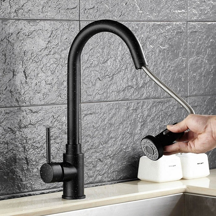 Brass Pull-out/­Pull-down 360 Degree Rotatable Single Handle One-Hole with Ceramic Valve Kitchen Faucet - Black + White DotKitchen Faucets<br>ColorBlack + White dotSizeOther Regions/CountriesModelF-8055BDMaterialBrassQuantity1 DX.PCM.Model.AttributeModel.UnitFinishOthers,Spray PaintValve TypeCeramic ValveNumber of handlesSingleSpout Height22 DX.PCM.Model.AttributeModel.UnitSpout Length21 DX.PCM.Model.AttributeModel.UnitTotal Height40 DX.PCM.Model.AttributeModel.UnitPacking List1 x Faucet2 x Stainless steel tubes (60cm)1 x Gravity ball<br>