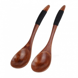 Wooden Spoons Large Long Handled Spoon Kids Spoon Wood Rice Soup Dessert Spoon, Wooden Utensils Kitchen Accessories 2PCS Brown Kinking