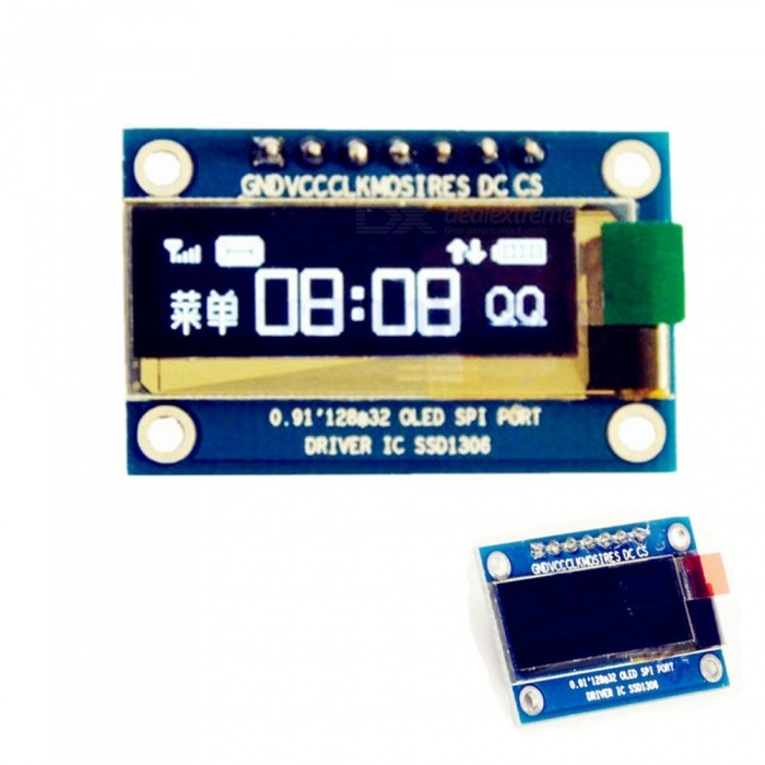 Produino SPI 0.91 128*32 White OLED LCD Display Module, DC 3.3V 5V SSD1306 7 Pin for ArduinoLCD, LED Display Module<br>ColorBlueModelN/AQuantity1 pieceMaterialFR-4Screen TypeOLEDScreen Size0.91 inchResolutionOthers,128*32Working Voltage   5 VEnglish Manual / SpecNoDownload Link   NOPacking List1 x OLED Display Module<br>