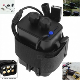 AIBBERTONE Portable Waterproof Battery Case Box with USB Interface Support 6x 18650 Battery for Bicycle LED Light / Mobile Phone
