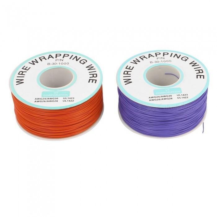 RXDZ 2 Pcs High Temperature Resistant Wraping Wire B-30-1000 - Purple + OrangeDIY Parts &amp; Components<br>ColorPurpleModelP/N b-30-1000Quantity2 DX.PCM.Model.AttributeModel.UnitMaterialPVC, tinned copperEnglish Manual / SpecNoCertificationNOPacking List2 x Wrapping Wire<br>