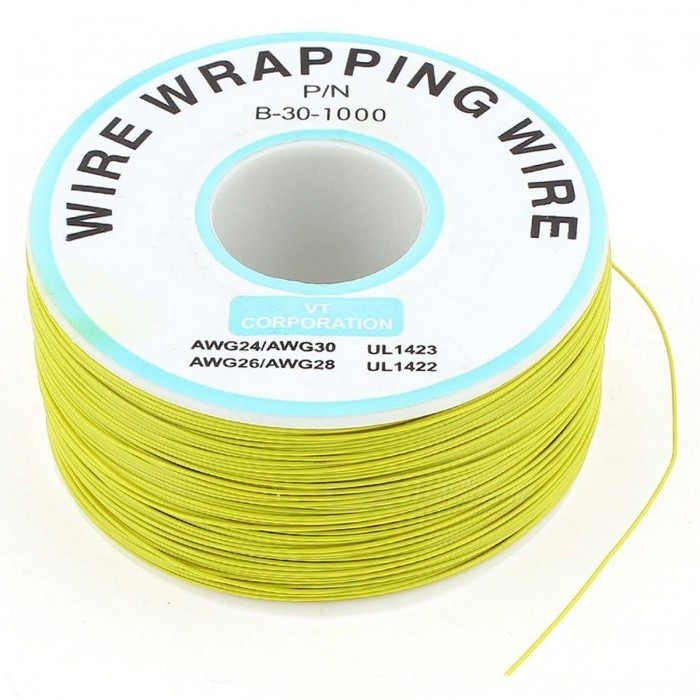 RXDZ P/N B-30-1000 200M 30AWG Insulation Test Wrapping Wire Cable - YellowDIY Parts &amp; Components<br>ColorwhiteModelP/N B-30-1000Quantity1 pieceMaterialPlastic, pvc, tinned copperEnglish Manual / SpecNoCertificationNOPacking List1 x Wrapped Wire<br>