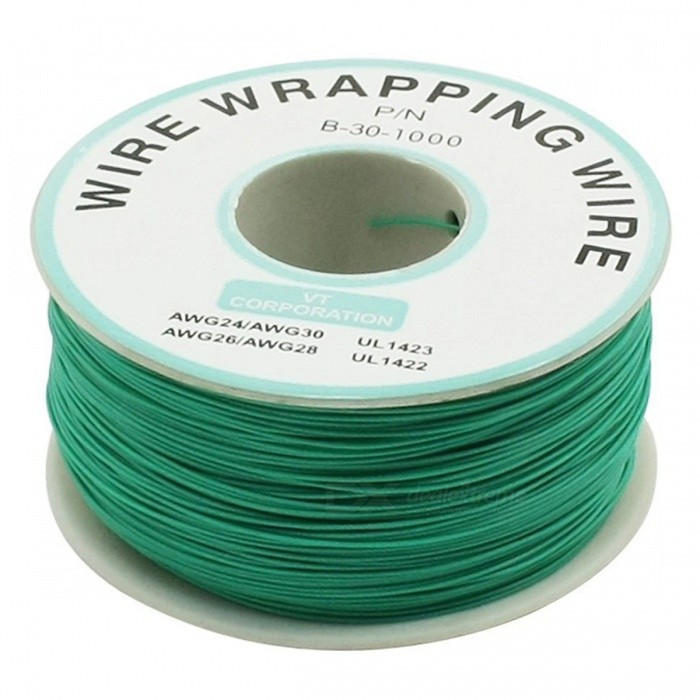 RXDZ P/N B-30-1000 Insulated PVC Coated 30AWG Wire Wrapping Reel 200M - GreenDIY Parts &amp; Components<br>ColorGreenModelP/N B-30-1000Quantity1 pieceMaterialPlastic, pvcEnglish Manual / SpecNoCertificationNOPacking List1 x Wrapped Wire<br>