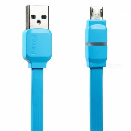 REMAX Breathable LED Micro USB Data Cable, 2.1A Smart Fast Charging / Data Sync Transfer Flat Cable for Samsung/Xiaomi 1m/blue