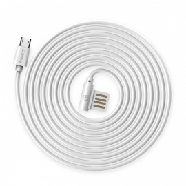 REMAX Durable Dual Sided Micro USB Data Cable, Portable 90 Degree Plug TPE Charger Charging Cable for Samsung/Xiaomi/Android White