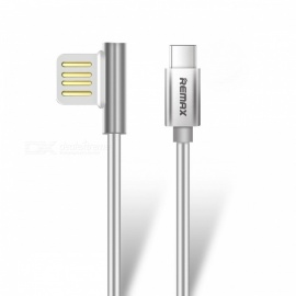 REMAX USB3.1 type-c datakabel, bærbar 90 graders dobbel USB-C holdbar laderkabel for Nexus 5X 6P HTC 10 LG G5 1m / sølv