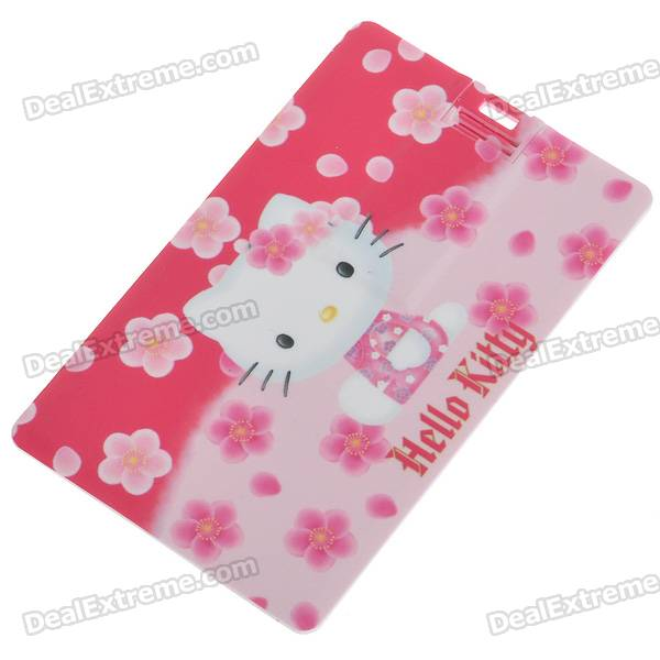 Compact Credit Card Style USB 2.0 Flash/Jump Drive - Hello Kitty with Plum Flowers (4GB)