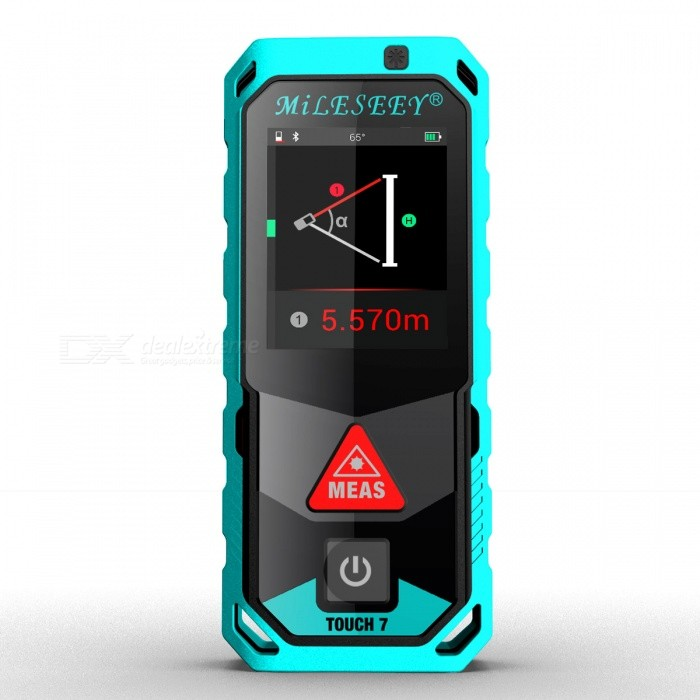 Mileseey T7 60m 2.0 LCD Handheld Laser Distance RangefinderLaser Rangefinder, Electronic Distance Meter<br>Form  ColorBlue + BlackModelT7Quantity1 DX.PCM.Model.AttributeModel.UnitMaterialABS + TPEDetection Range0.2-60mMeasuring Accuracy±2mmLaser Level630-670nm1mWDisplay2.0 LCDPowered ByOthers,3?AAA battery powered(NI-MH rechargeable battery)Battery included or notYesEnglish Manual / SpecYesPacking List1 x Laser rangefinder 3 x AAA batteries 1 x User manual<br>