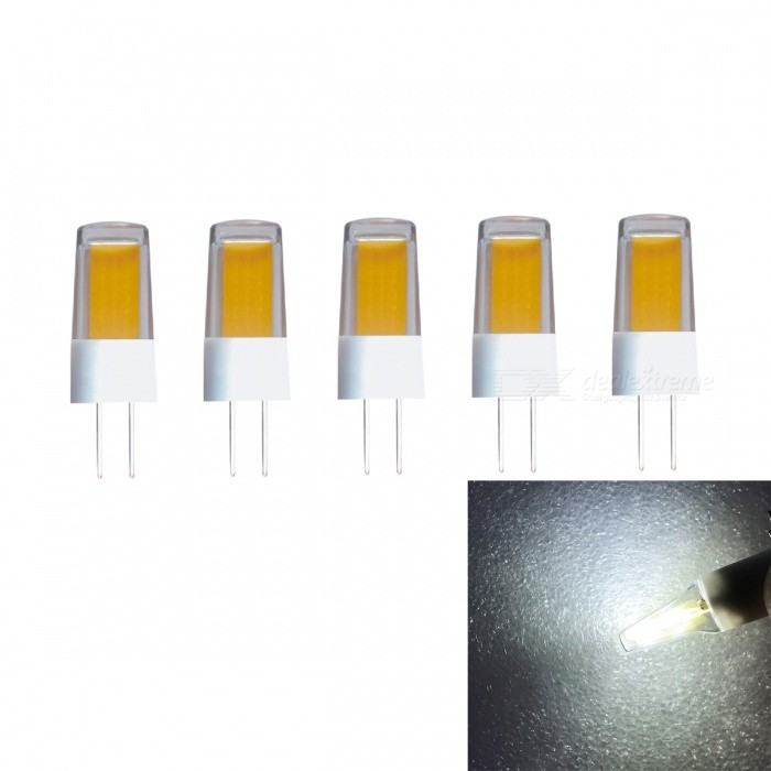JRLED G4 2W COB Cold White Ceramic Light Bulb (AC/DC12V, 5 PCS)G4<br>Power SupplyAC/DC12VEmitting ColorCold WhiteModel2W COB LEDModelN/AMaterialCeramics + PCForm  ColorWhite + YellowQuantity5 DX.PCM.Model.AttributeModel.UnitPower2WRated VoltageOthers,AC/DC12 DX.PCM.Model.AttributeModel.UnitConnector TypeG4Chip BrandEpistarChip TypeCOBEmitter TypeCOBTotal Emitters1Theoretical Lumens230 DX.PCM.Model.AttributeModel.UnitActual Lumens200 DX.PCM.Model.AttributeModel.UnitColor Temperature6000KDimmableNoBeam Angle360 DX.PCM.Model.AttributeModel.UnitWavelengthN/ACertificationCE ROHSOther FeaturesThis product is to improve the traditional silica gel style, use ceramic cooling and PC cover reinforcement to make it stronger and stronger. The light source adopts the latest high brightness wafer, with higher brightness and better application effect.Packing List5 x G4 LED Bulbs<br>