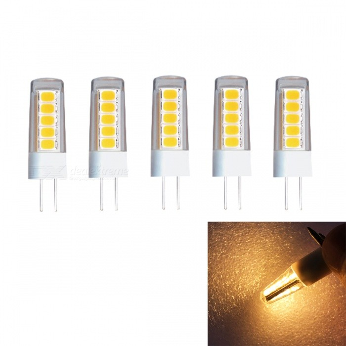 JRLED G4 2W SMD2835 10-LED Warm White Ceramic Light Bulb (AC/DC12V, 5 PCS)G4<br>Power SupplyAC/DC12VEmitting ColorWarm WhiteModel2W 2835 10 LEDModelN/AMaterialCeramics + PCForm  ColorWhite + YellowQuantity5 DX.PCM.Model.AttributeModel.UnitPower2WRated VoltageOthers,AC/DC12 DX.PCM.Model.AttributeModel.UnitConnector TypeG4Chip BrandEpistarChip Type2835Emitter TypeOthers,2835 SMDTotal Emitters10Theoretical Lumens230 DX.PCM.Model.AttributeModel.UnitActual Lumens200 DX.PCM.Model.AttributeModel.UnitColor Temperature3000KDimmableNoBeam Angle360 DX.PCM.Model.AttributeModel.UnitWavelengthN/ACertificationCE ROHSOther FeaturesThis product is to improve the traditional silica gel style, use ceramic cooling and PC cover reinforcement to make it stronger and stronger. The light source adopts the latest high brightness wafer, with higher brightness and better application effect.Packing List5 x G4 LED Bulbs<br>