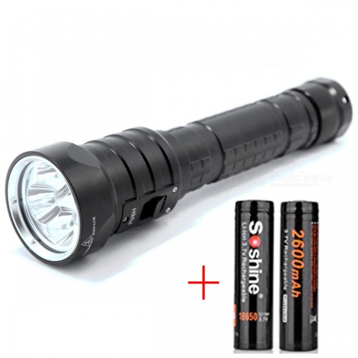 AIBBER TONE 4x CREE L2 Brightness Underwater 100m Waterproof 18650 LED Light Torch, Diving FlashlightDiving Flashlights<br>Bundles1 x Flashlight + 2 x 18650 BatteriesQuantity1 DX.PCM.Model.AttributeModel.UnitMaterialAluminumEmitter BrandCreeLED TypeXM-L2Emitter BINT6Color BINWhiteNumber of Emitters4Theoretical Lumens4400 DX.PCM.Model.AttributeModel.UnitActual Lumens3200 DX.PCM.Model.AttributeModel.UnitPower Supply2x18650Working Voltage   7.2-8.4 DX.PCM.Model.AttributeModel.UnitCurrent1800-2240 DX.PCM.Model.AttributeModel.UnitRuntime3-4 DX.PCM.Model.AttributeModel.UnitNumber of Modes3Mode ArrangementOthers,Strong - weak-flashMode MemoryNoSwitch TypeForward clickySwitch LocationHeadLens MaterialOptical lensesReflectorAluminum SmoothWorking Depth Underwater100 DX.PCM.Model.AttributeModel.UnitStrap/ClipStrap includedPacking List1 x Diving Flashlight1 x Strap (20cm)2 x Cell tubes2 x Soshine 18650 2600mAh Batteries<br>