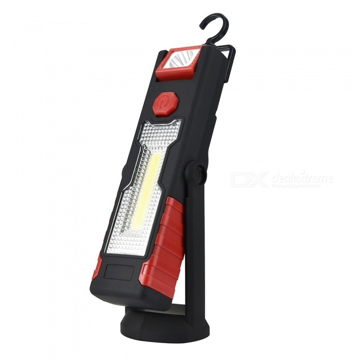 Multi-functional COB LED Work Light with Bracket Stand, Strong Magnetic Hook Can Be Reversed - Black + RedOther Flashlights<br>ColorBlack + redModelYJQuantity1 setMaterialABSNumber of Emitters2Color BINWhitePower SupplyBuilt-in batteryVoltage3.7-4.2 VCurrent3 ATheoretical Lumens200-300 lumensActual Lumens200-300 lumensRuntime3-4 hourNumber of Modes2Mode ArrangementHi,LowMode MemoryNoSwitch TypeClicky SwitchSwitch LocationSideLensPlasticReflectorPlastic SmoothBeam Range30-50 mStrap/ClipNoEmitter BINothers,-Emitter BrandOthers,-Emitter BINOthers,-LED TypeOthers,COB LEDPacking List1 x LED Light1 x USB Cable<br>